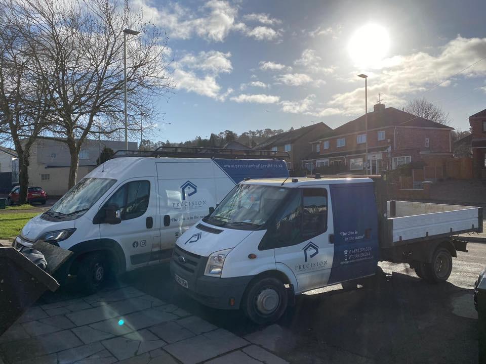 Precision Builders' van in car park in Stroud