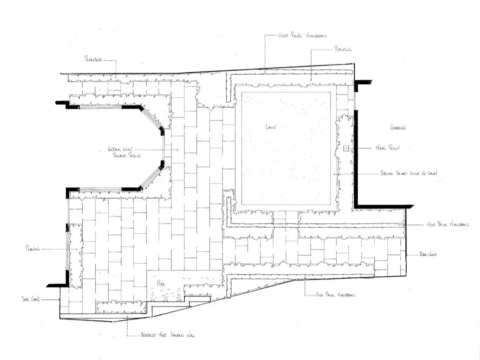 A drawing of a garden design